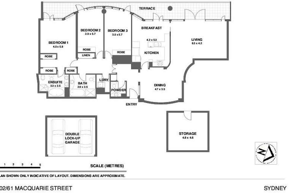 Floorplan of Homely apartment listing, 1402/61 Macquarie Street, Sydney NSW 2000