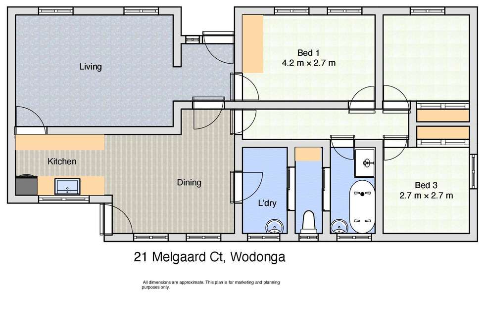 Floorplan of Homely house listing, 21 Melgaard Court, Wodonga VIC 3690