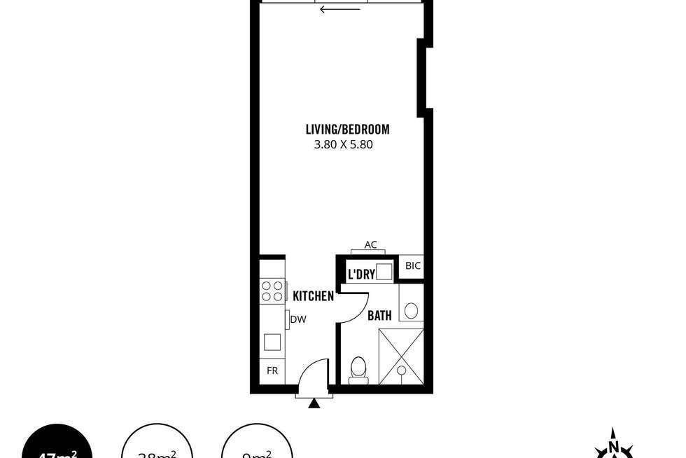 Floorplan of Homely studio listing, 407/180 Morphett Street, Adelaide SA 5000
