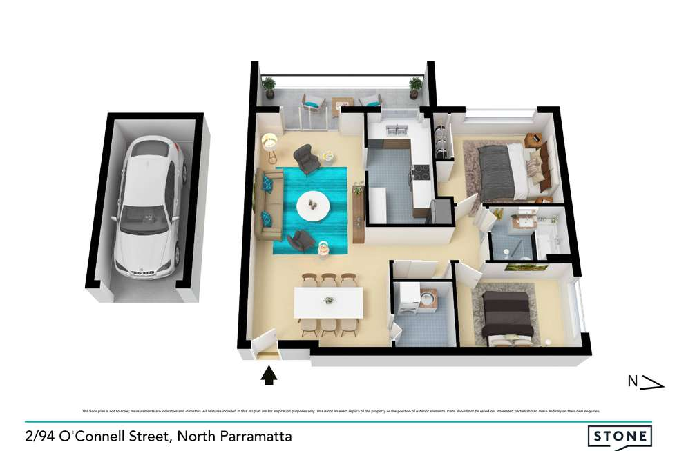 Floorplan of Homely apartment listing, 2/94 O'Connell Street, North Parramatta NSW 2151