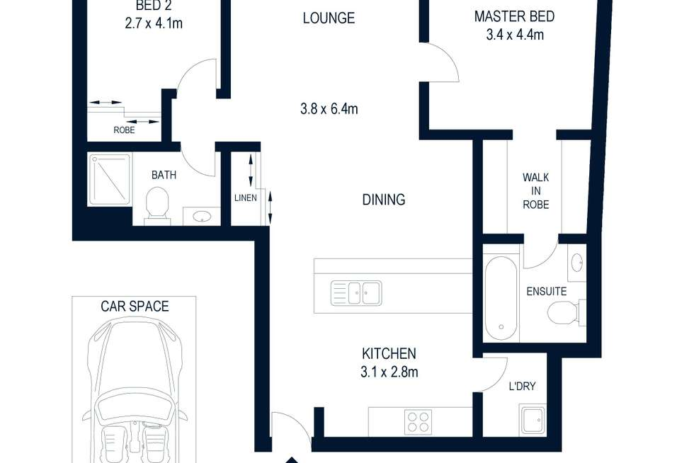 Floorplan of Homely apartment listing, 2201/355 Kent Street, Sydney NSW 2000
