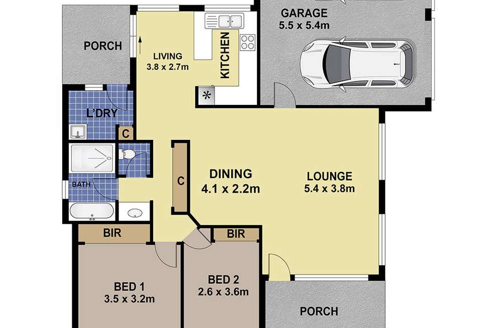 Floorplan of Homely villa listing, 1/156 St James Road, New Lambton NSW 2305