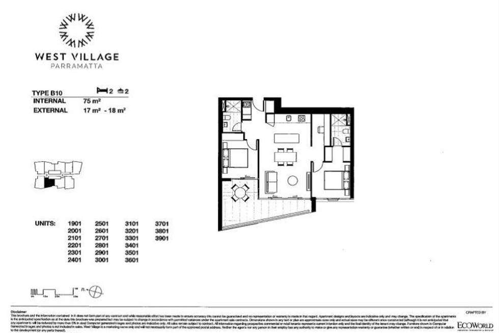 Floorplan of Homely apartment listing, 2601/88 Church Street, Parramatta NSW 2150