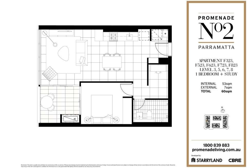 Floorplan of Homely apartment listing, F323/1 Broughton Street, Parramatta NSW 2150