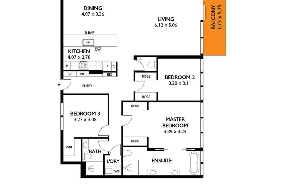 Floorplan of Homely apartment listing, 701/1 King William Street, Kent Town SA 5067