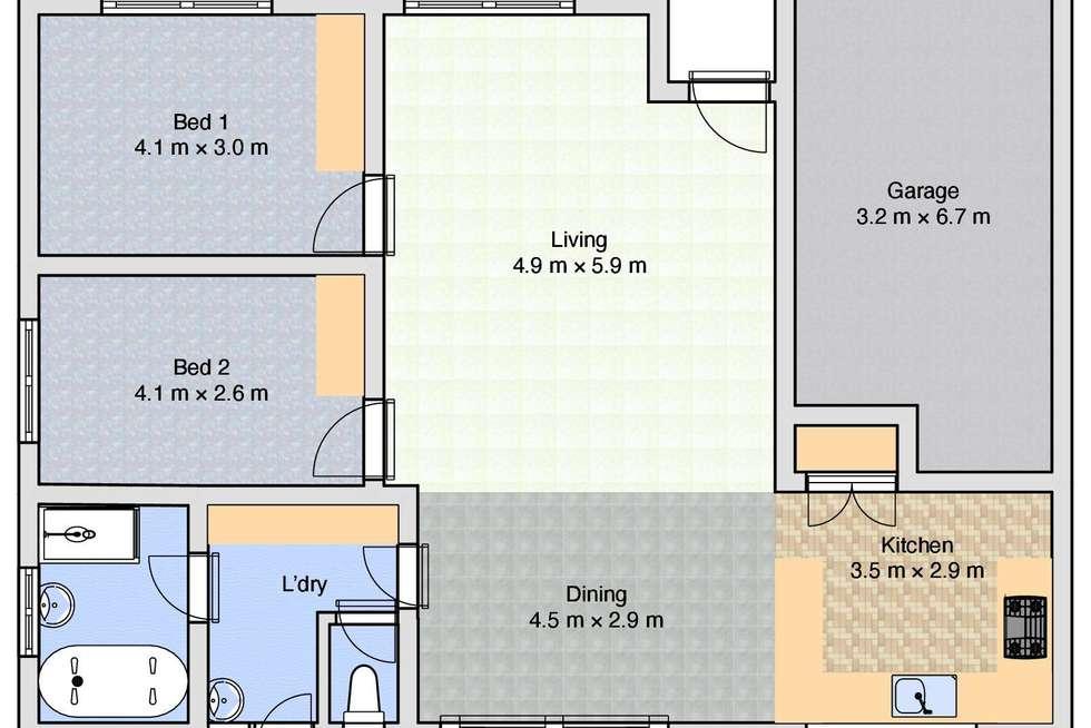 Floorplan of Homely unit listing, 1/9 Highland Crescent, Wodonga VIC 3690