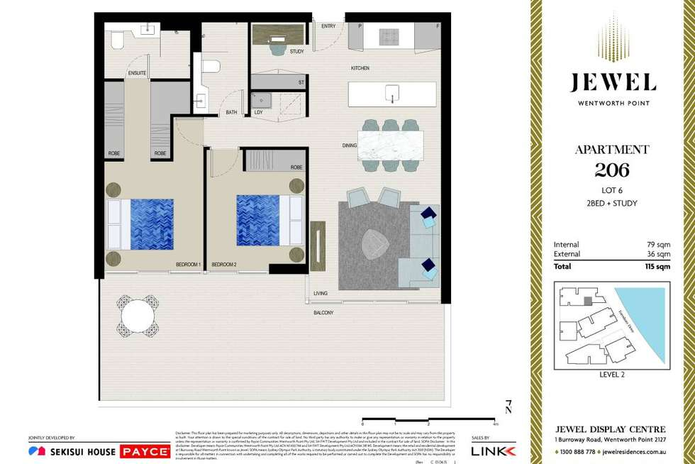 Floorplan of Homely apartment listing, A206/1 Burroway Road, Wentworth Point NSW 2127