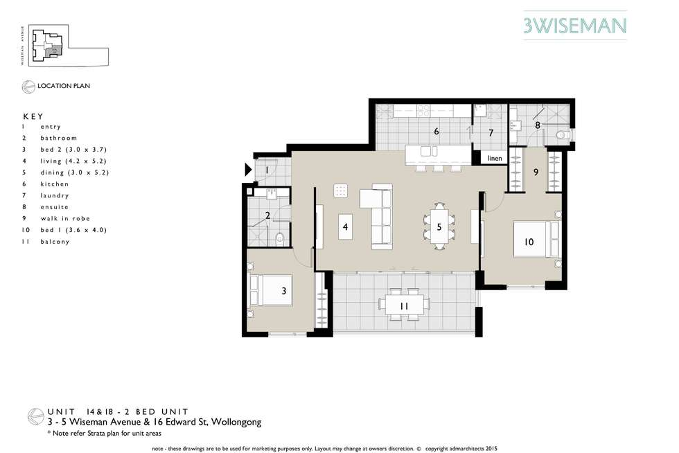 Floorplan of Homely unit listing, 18/3-5 Wiseman Avenue, Wollongong NSW 2500