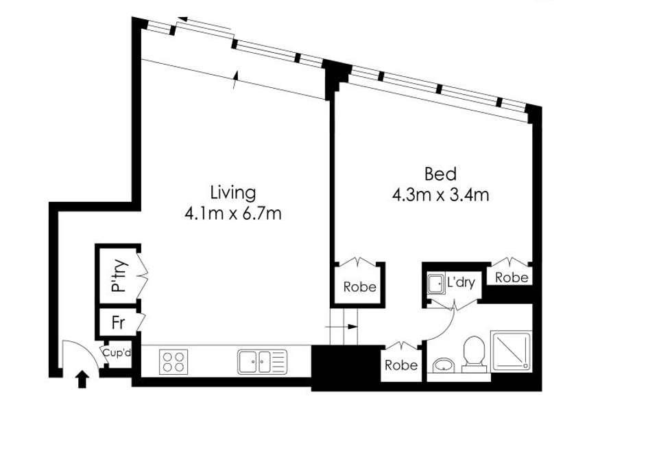 Floorplan of Homely apartment listing, 515/2 York Street, Sydney NSW 2000