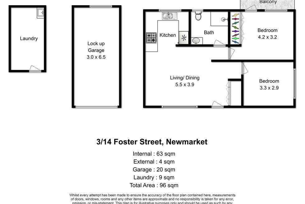 Floorplan of Homely unit listing, 3/14 Foster Street, Newmarket QLD 4051