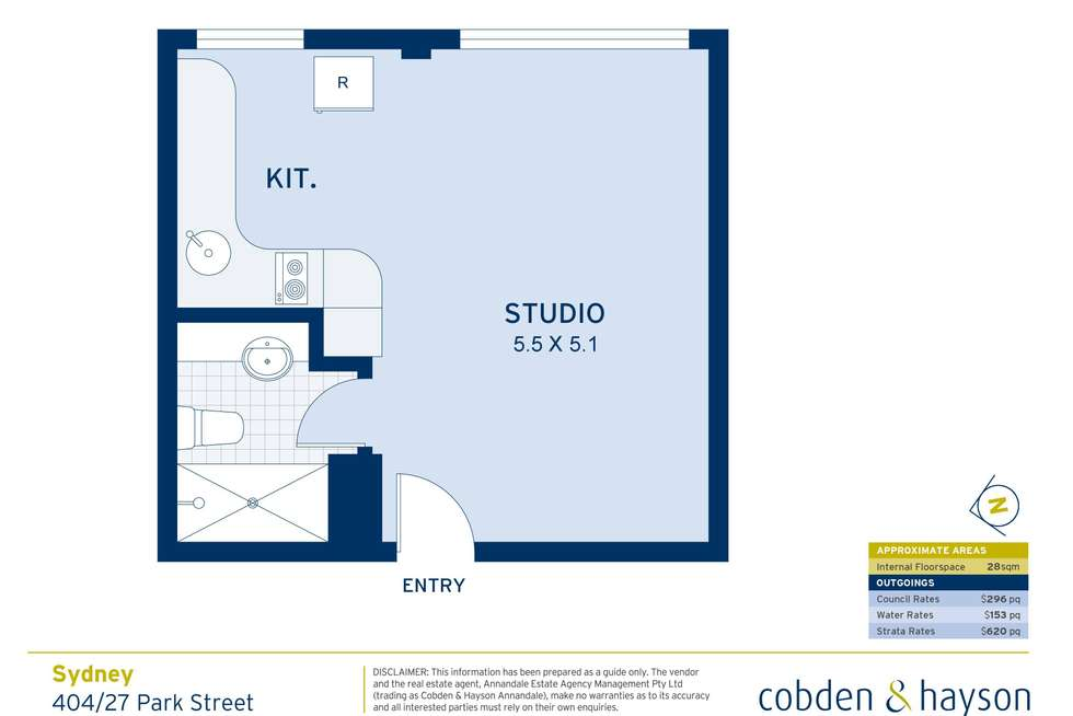 Floorplan of Homely studio listing, 404/27 Park Street, Sydney NSW 2000