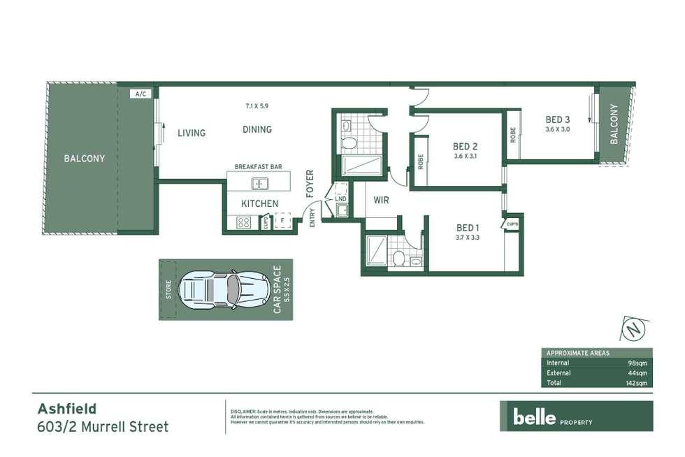 Floorplan of Homely apartment listing, 603/2 Murrell Street, Ashfield NSW 2131