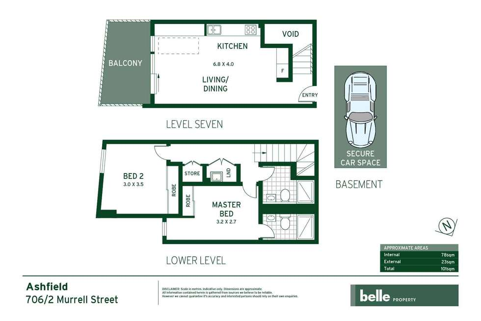 Floorplan of Homely apartment listing, 706/2 Murrell Street, Ashfield NSW 2131