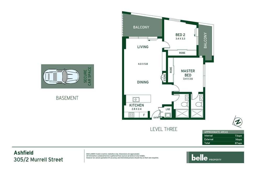 Floorplan of Homely apartment listing, 305/2 Murrell Street, Ashfield NSW 2131