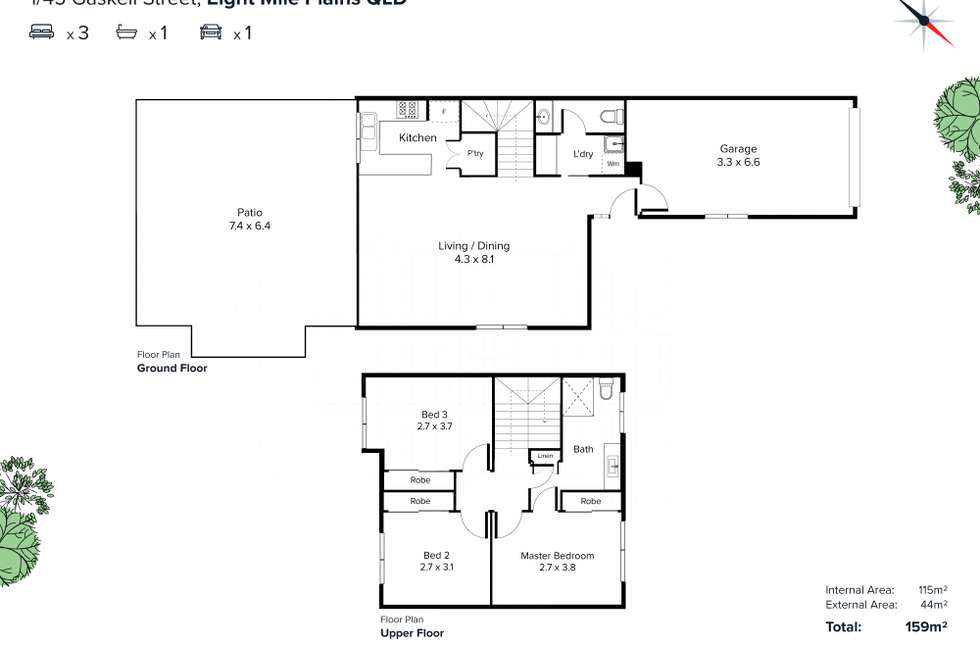 Floorplan of Homely townhouse listing, 1/45 Gaskell Street, Eight Mile Plains QLD 4113