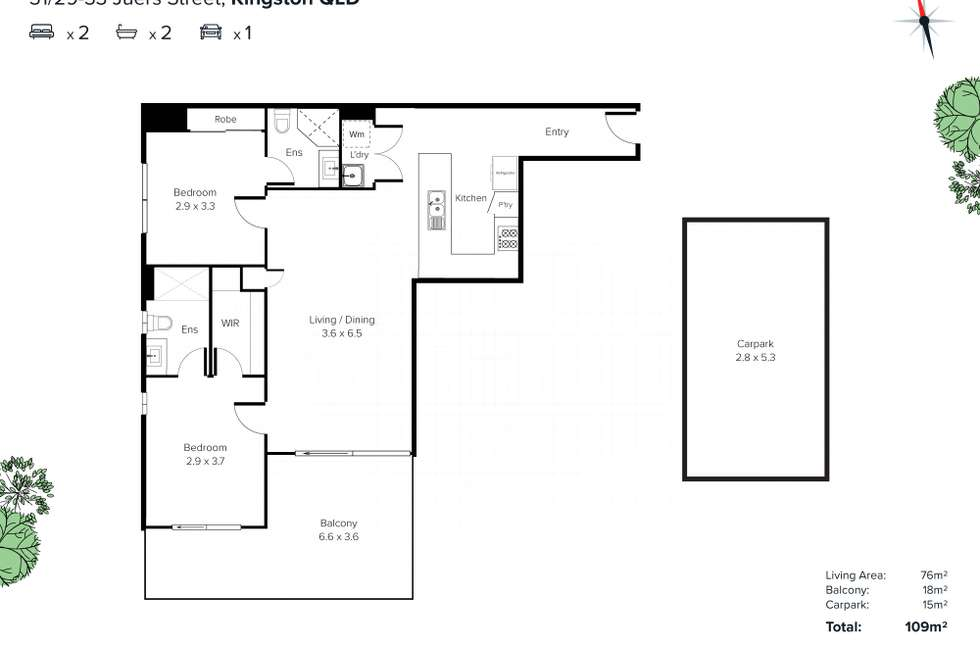 Floorplan of Homely apartment listing, Level 1/31/29-33 Juers Street, Kingston QLD 4114