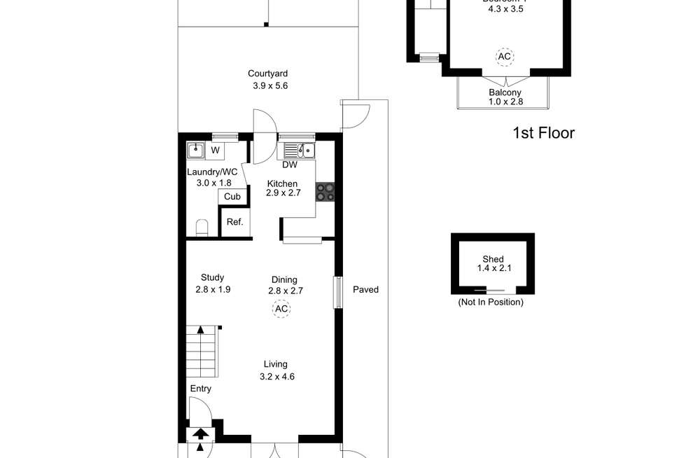 Floorplan of Homely townhouse listing, 2/3a Hughes Avenue, Kensington SA 5068