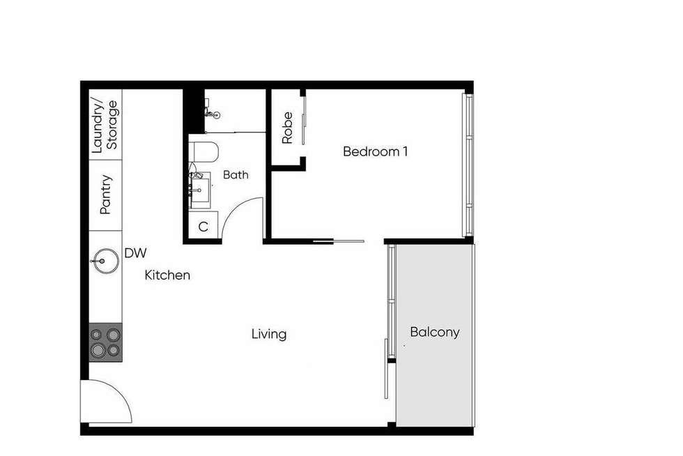 Floorplan of Homely apartment listing, 2314/33 MacKenzie Street, Melbourne VIC 3000