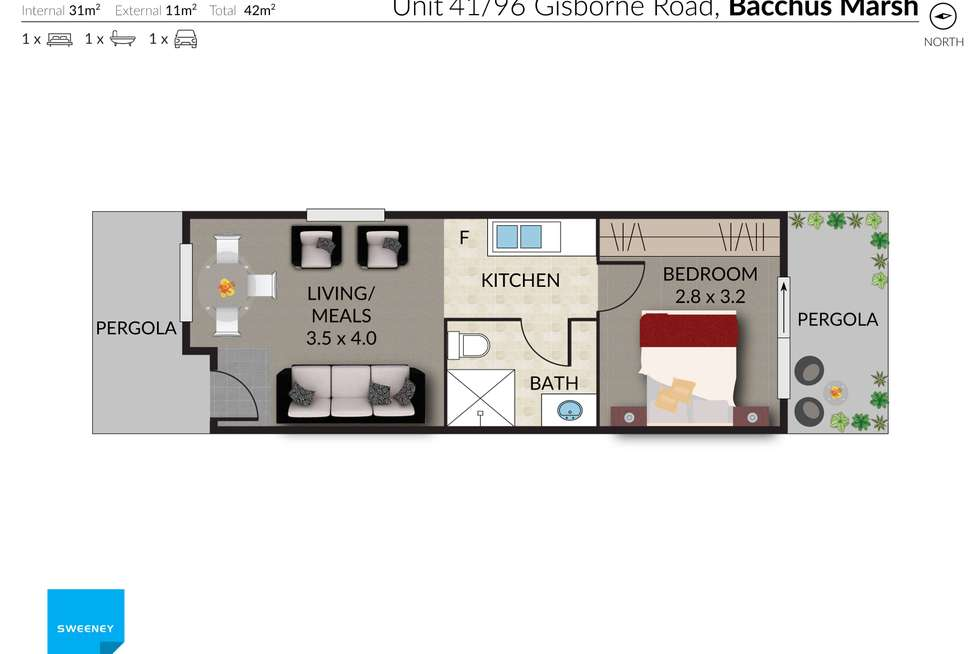 Floorplan of Homely unit listing, 41/96 Gisborne Road, Bacchus Marsh VIC 3340