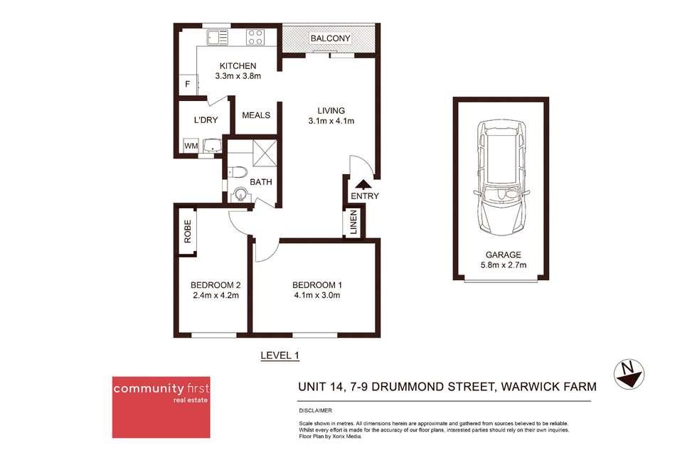 Floorplan of Homely unit listing, 14/7-9 Drummond Street, Warwick Farm NSW 2170