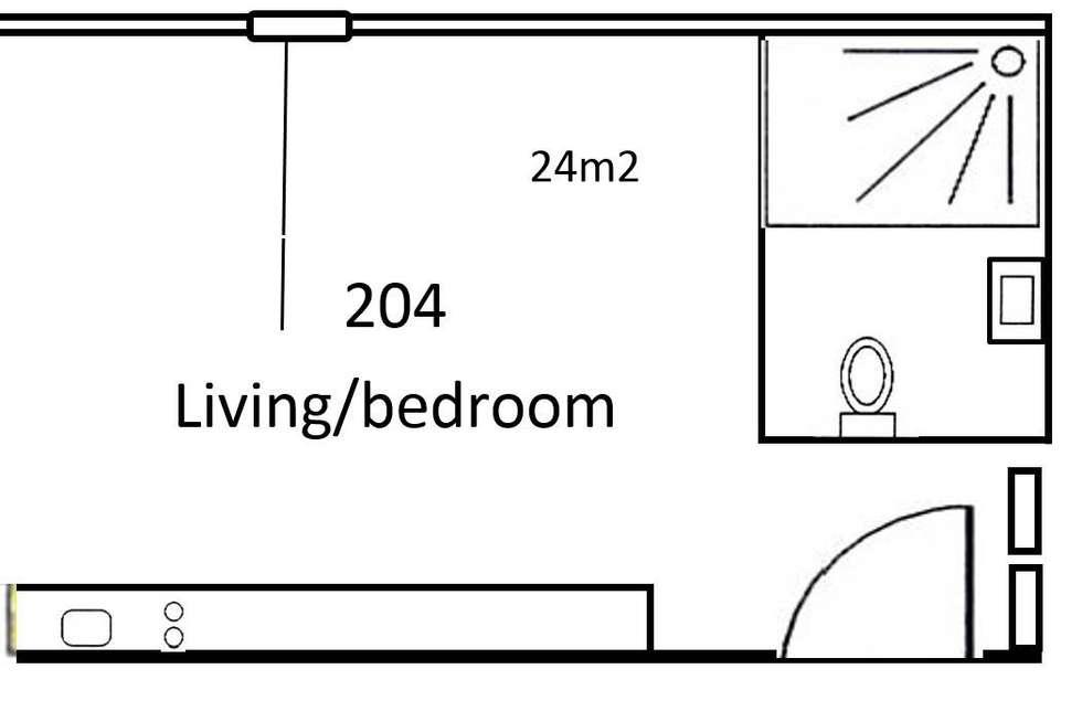 Floorplan of Homely studio listing, 204/68 Hayward Lane, Melbourne VIC 3000