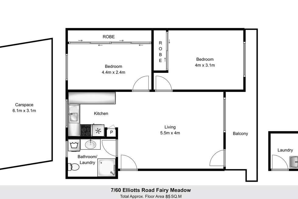 Floorplan of Homely unit listing, 7/60 Elliotts Road, Fairy Meadow NSW 2519
