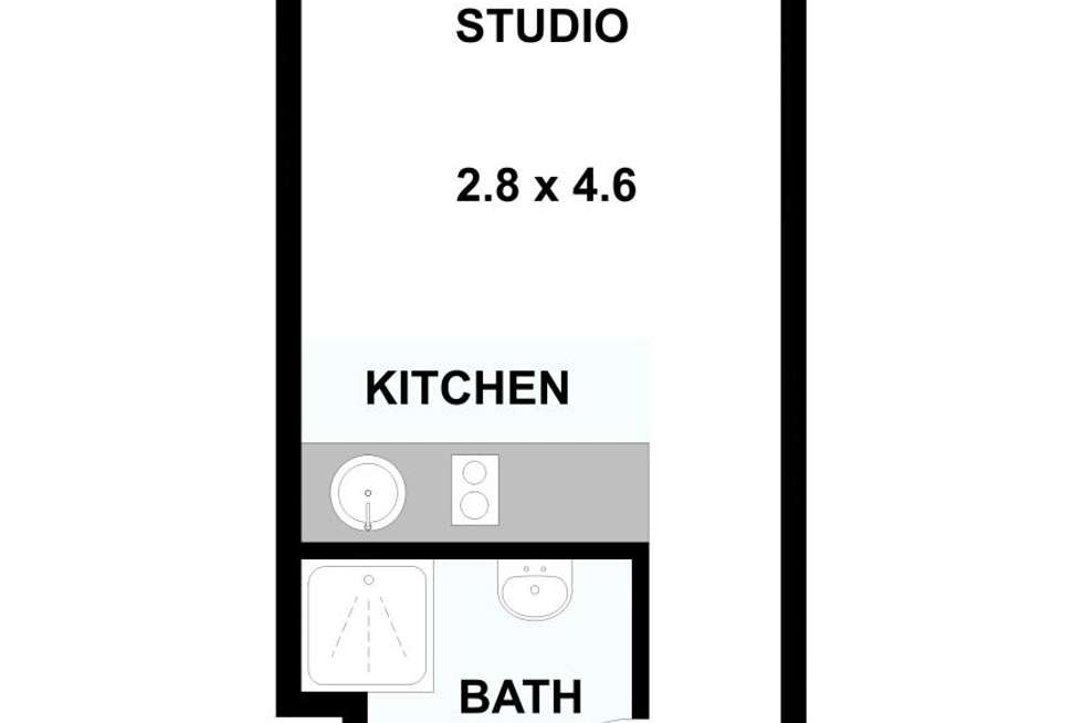Floorplan of Homely studio listing, 510/268 Flinders Street, Melbourne VIC 3000