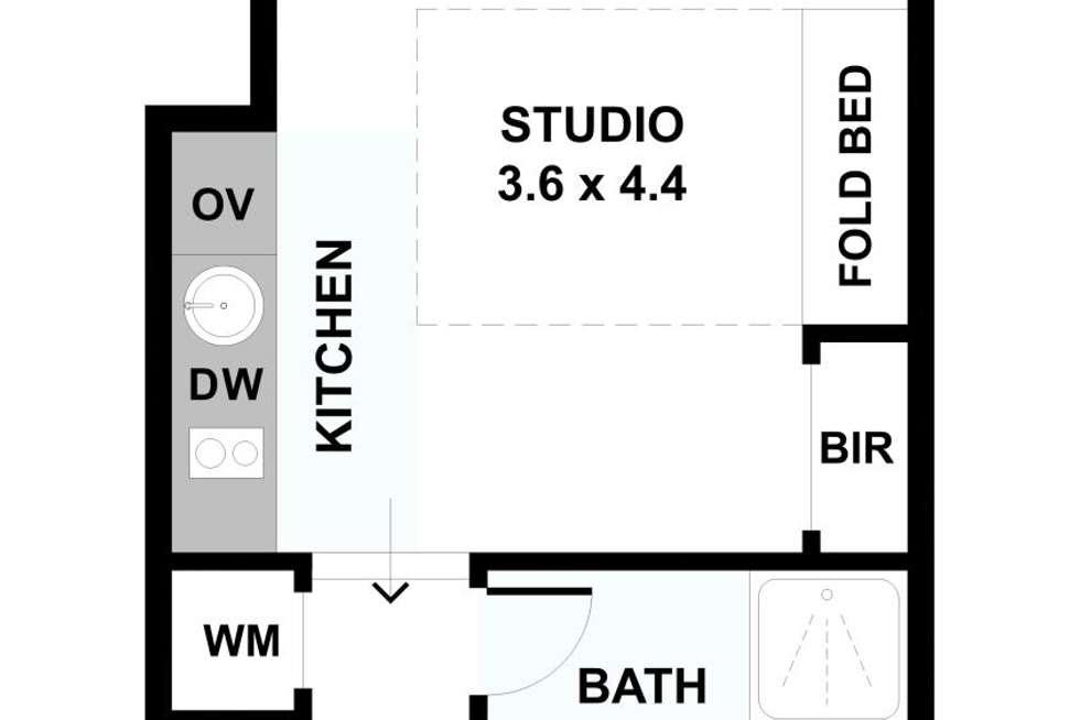 Floorplan of Homely studio listing, 65 Elizabeth St, Melbourne VIC 3000