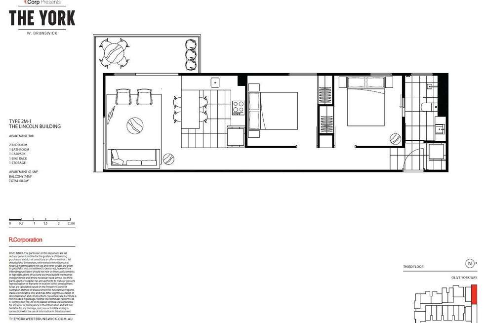Floorplan of Homely apartment listing, 308/12 Olive York Way, Brunswick West VIC 3055