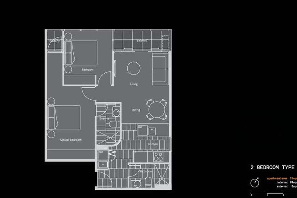 Floorplan of Homely apartment listing, 604/108 Flinders St, Melbourne VIC 3000