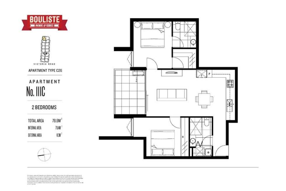 Floorplan of Homely apartment listing, 111C/168 Victoria Road, Northcote VIC 3070