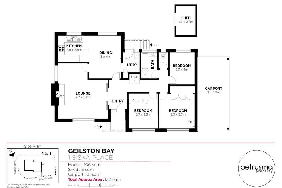 Floorplan of Homely house listing, 1 Siska Place, Geilston Bay TAS 7015