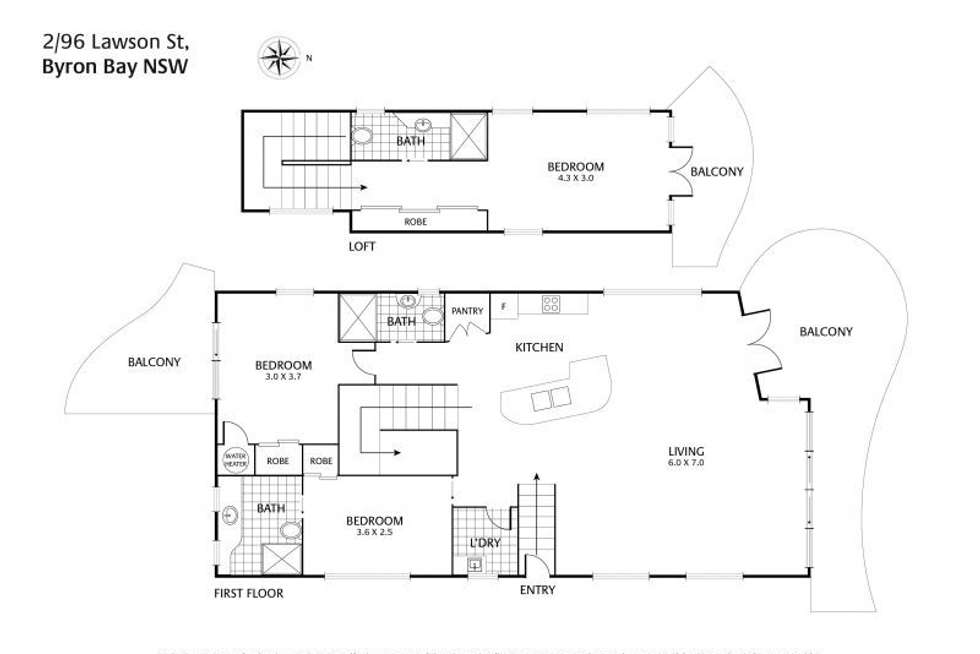 Floorplan of Homely apartment listing, 2/96 Lawson Street, Byron Bay NSW 2481