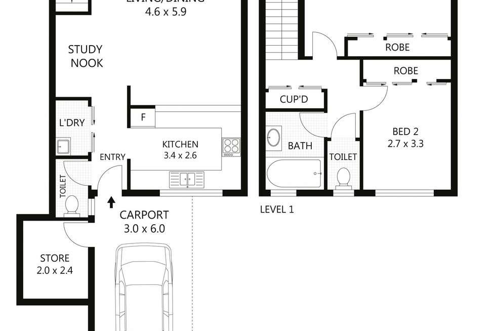 Floorplan of Homely unit listing, 2/20-22 Cameron Street, Railway Estate QLD 4810