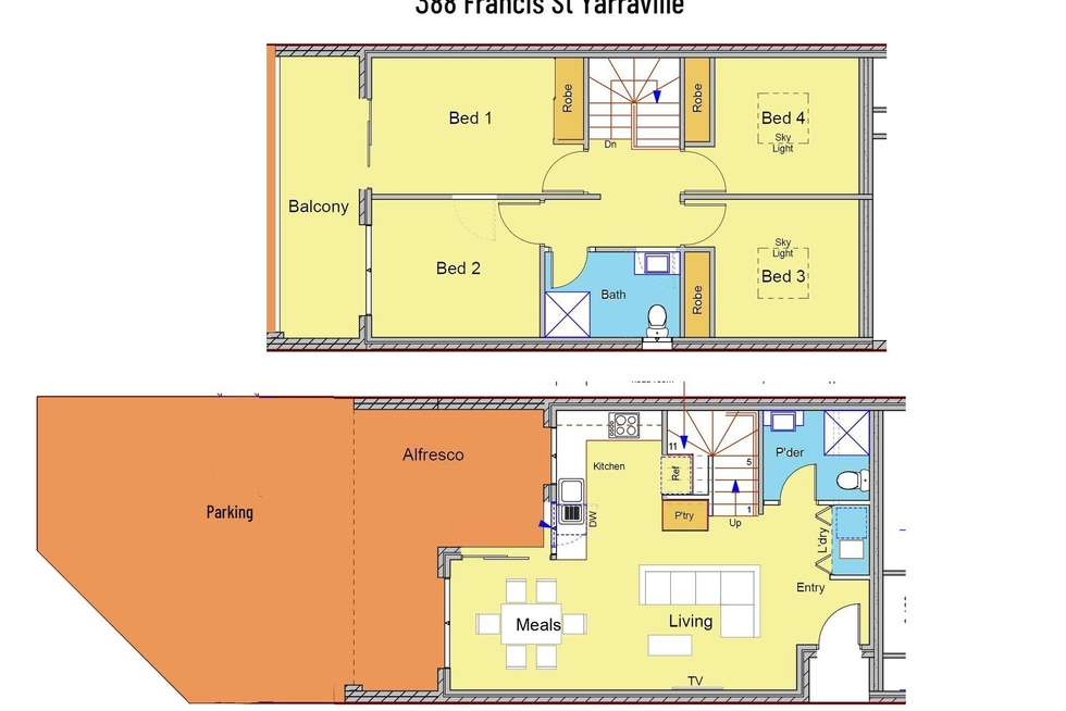 Floorplan of Homely townhouse listing, 388 Francis Street, Yarraville VIC 3013