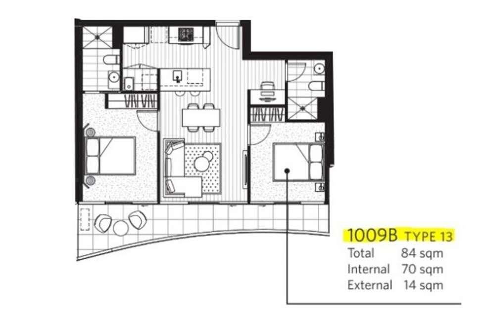 Floorplan of Homely apartment listing, 1009B/4 Joseph Rd, Footscray VIC 3011
