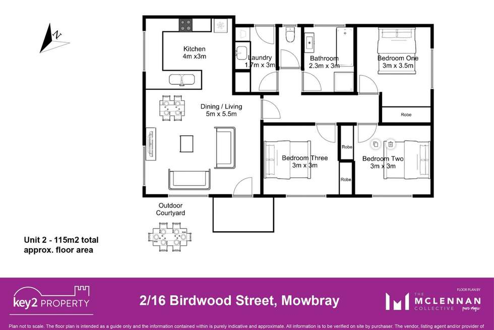 Floorplan of Homely unit listing, 2/16 Birdwood Street, Mowbray TAS 7248