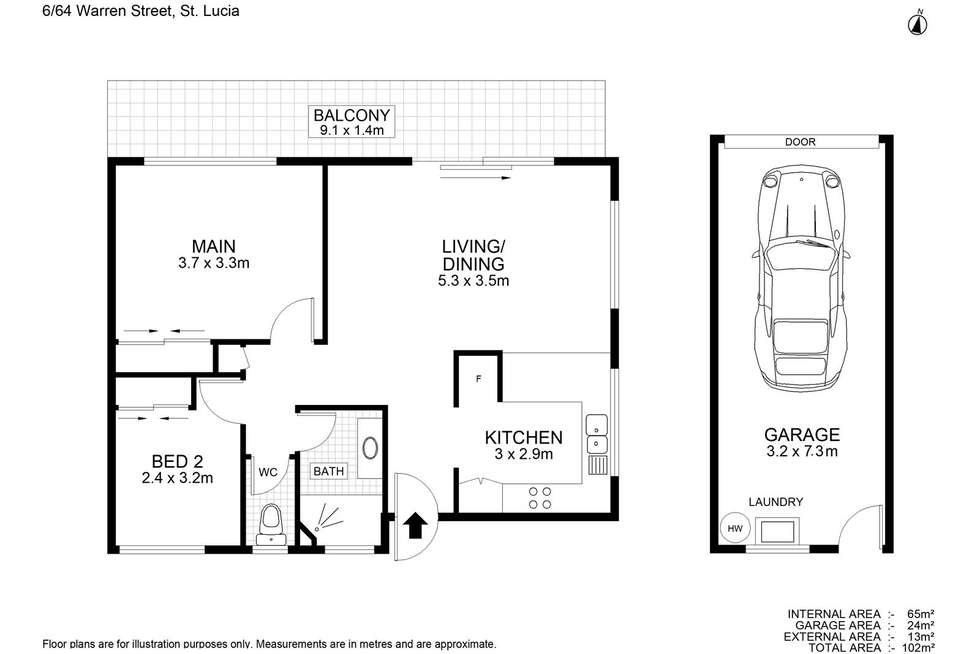 Floorplan of Homely unit listing, 6/64 Warren Street, St Lucia QLD 4067