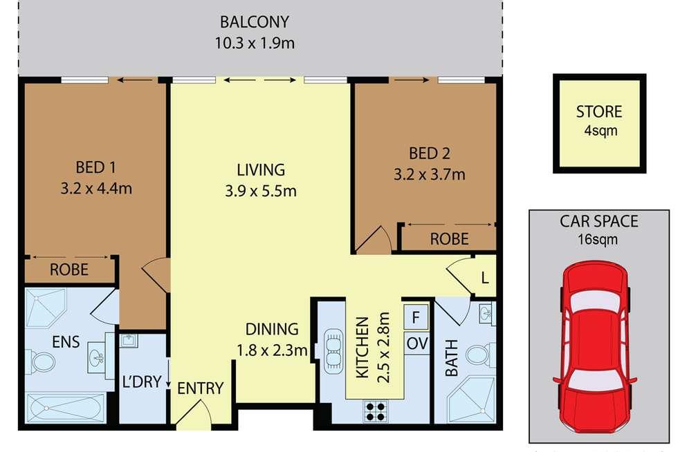Floorplan of Homely apartment listing, Unit 620, 18 Bonar St, Arncliffe NSW 2205
