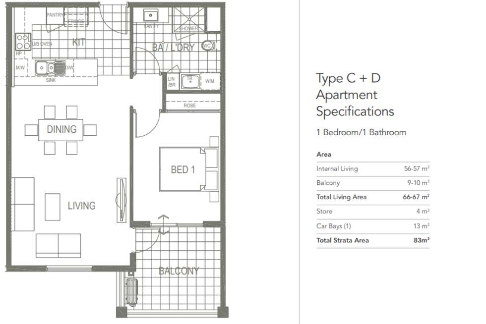 Floorplan of Homely apartment listing, Unit 10/1 Kentucky Ct, Cockburn Central WA 6164