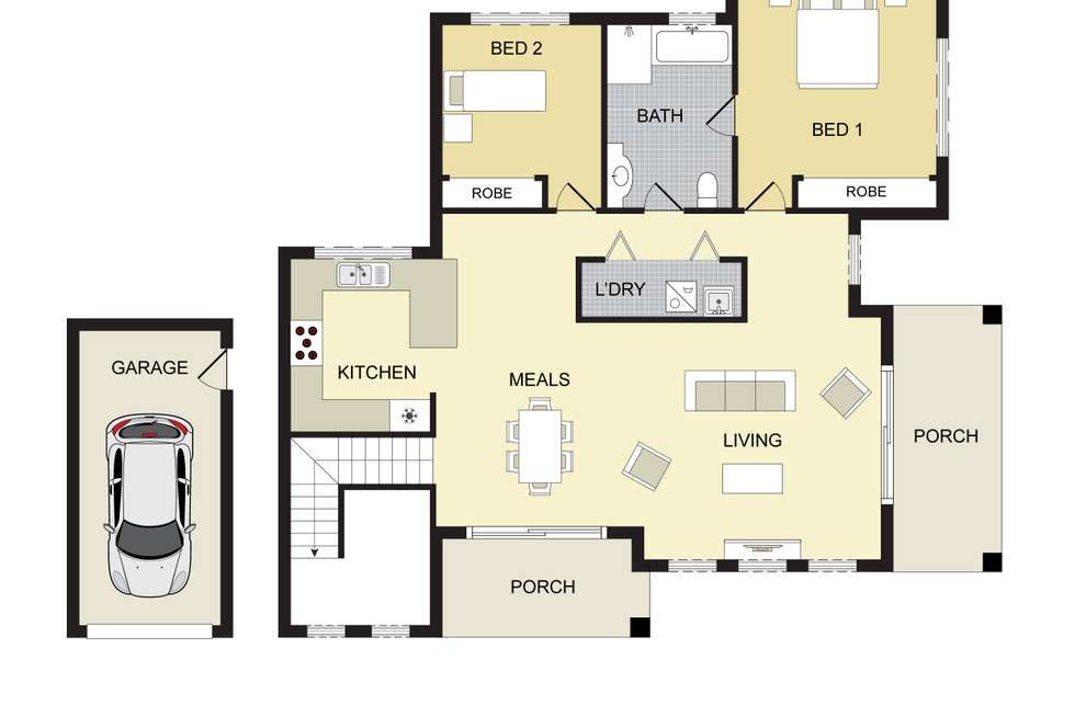 Floorplan of Homely semiDetached listing, 1/3 Rizal Street, Campbelltown NSW 2560