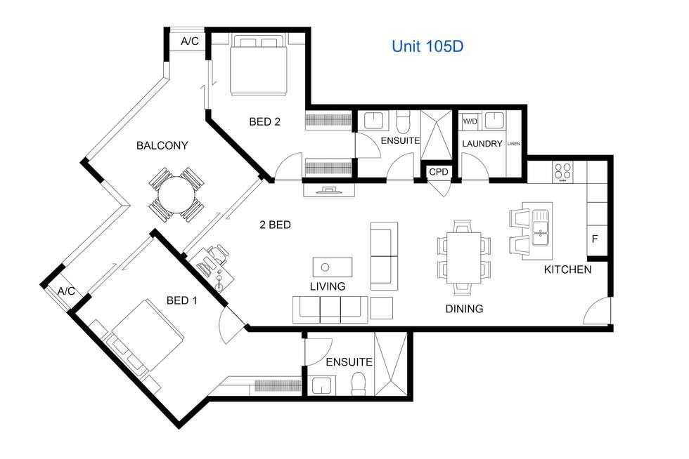 Floorplan of Homely apartment listing, 405D/65 Progress Drive, Nightcliff NT 810
