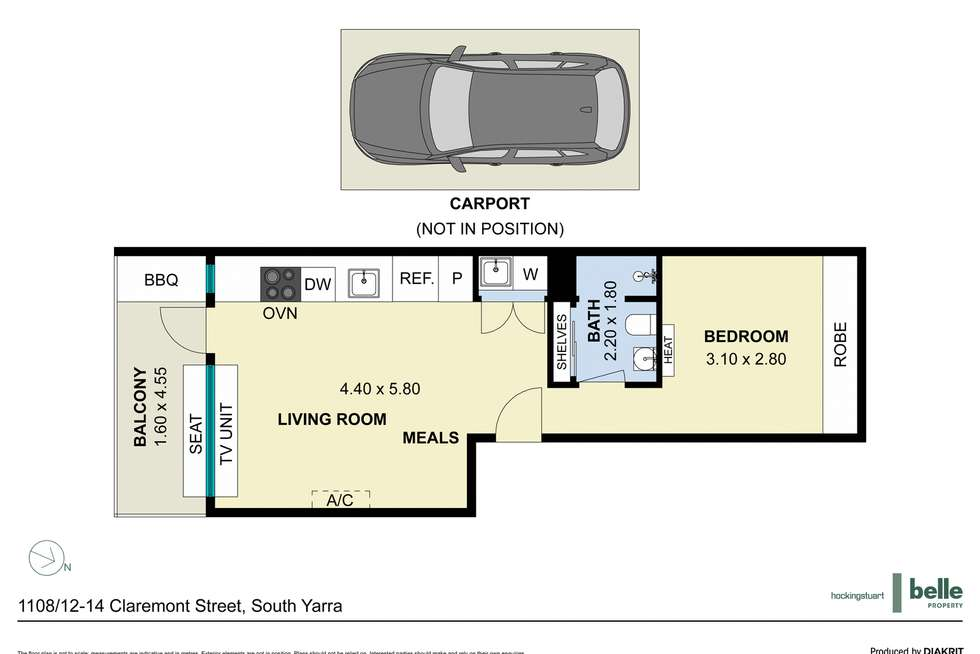 Floorplan of Homely apartment listing, 1108/12-14 Claremont Street, South Yarra VIC 3141