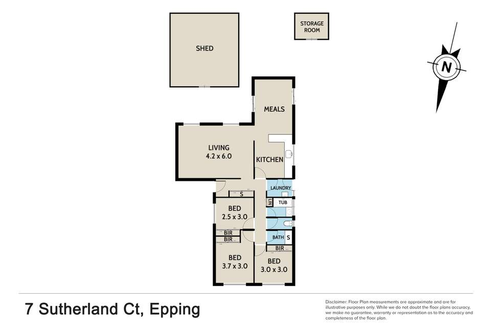Floorplan of Homely house listing, 7 Sutherland Court, Epping VIC 3076