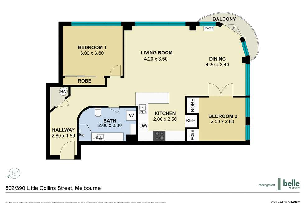 Floorplan of Homely apartment listing, 502/390 Little Collins Street, Melbourne VIC 3000