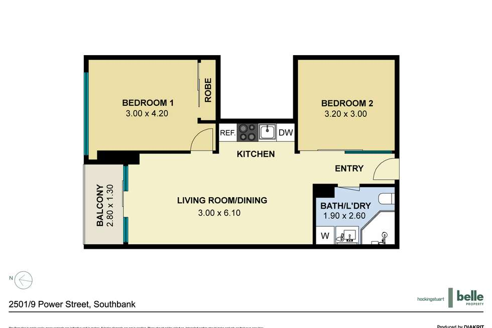 Floorplan of Homely apartment listing, 2501/9 Power Street, Southbank VIC 3006