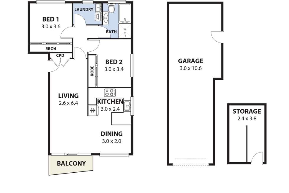 Floorplan of Homely unit listing, 5/7 David Street, West Wollongong NSW 2500