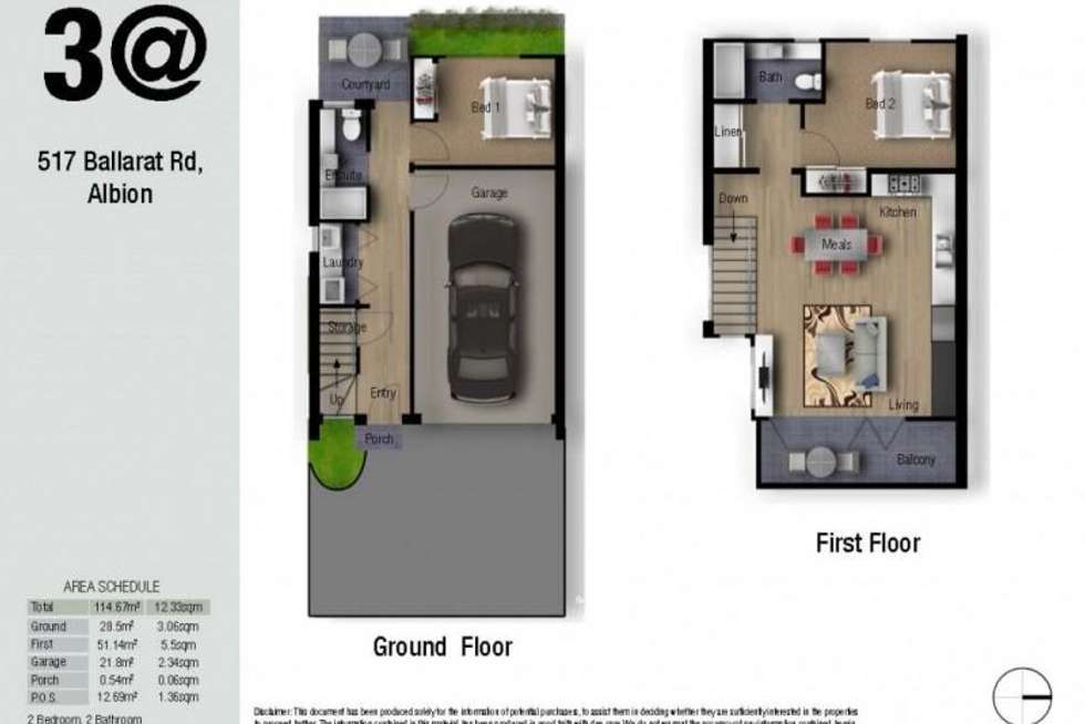 Floorplan of Homely townhouse listing, 3/517 Ballarat Road, Albion VIC 3020