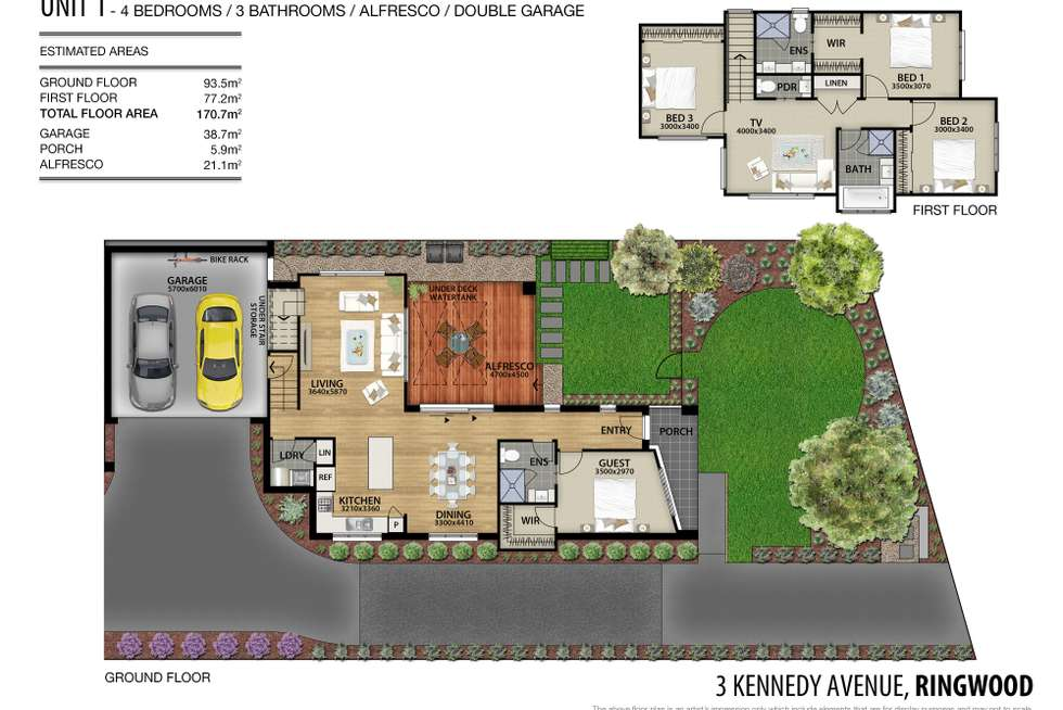 Floorplan of Homely townhouse listing, 1/3 Kennedy Avenue, Ringwood VIC 3134