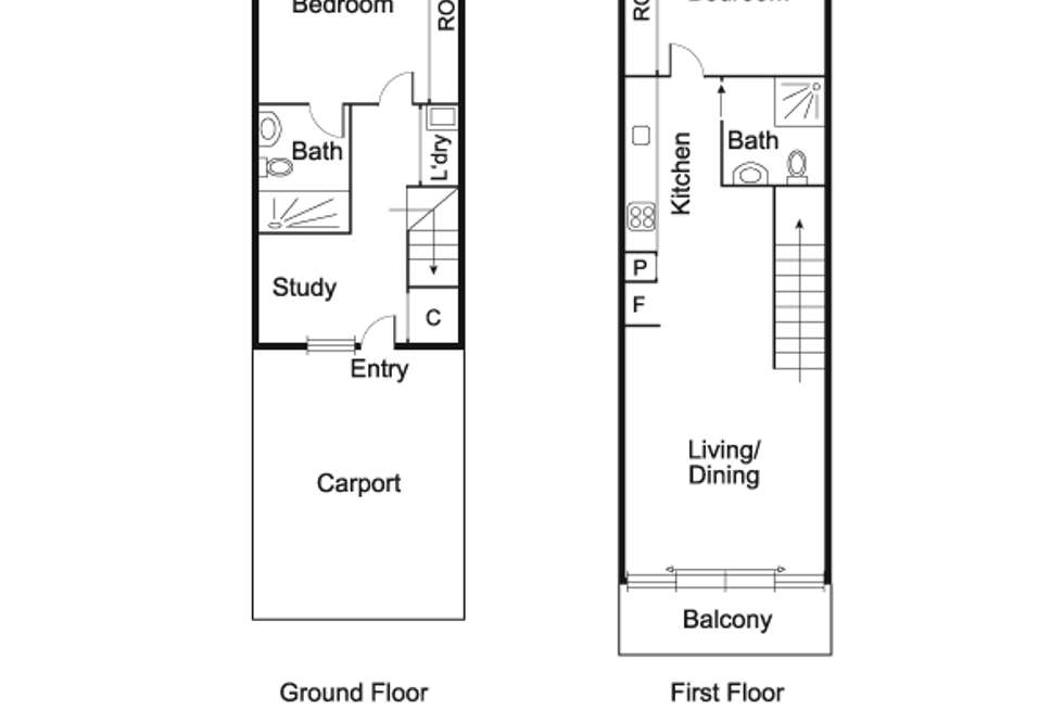 Floorplan of Homely townhouse listing, 9/22 Buckingham Street, Richmond VIC 3121